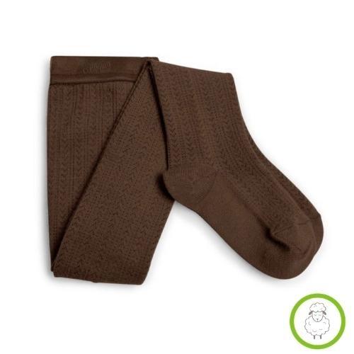 Collegien Angelique Tights - Collants en laine Merinos et maille ajouree Chocolat au lait (maillot)-1