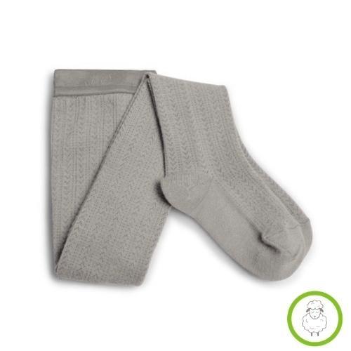 Collegien Angelique Tights - Collants en laine Merinos et maille ajouree Jour de Pluie (maillot)-1