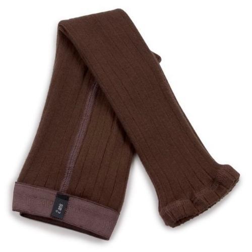 Collegien Maxence Ribbed Tights - Collants a cotes sans pied Chocolat au lait (legging)-1