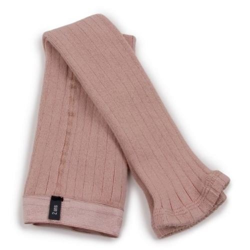 Collegien Maxence Ribbed Tights - Collants a cotes sans pied Vieux Rose (legging)-1