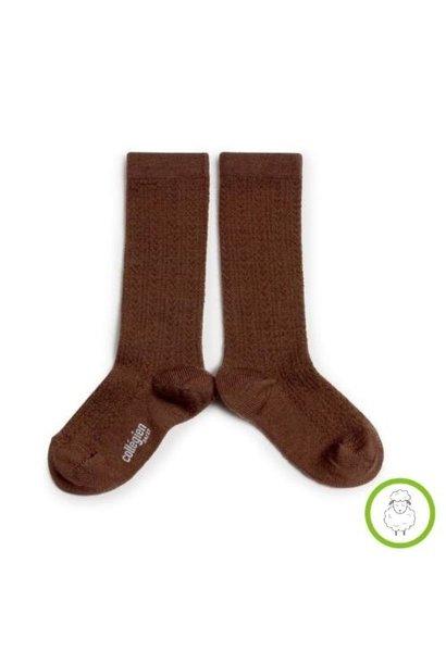 Collegien Adele - Chaussettes hautes laine Merinos maille ajouree Chocolat au lait (kniekousen)