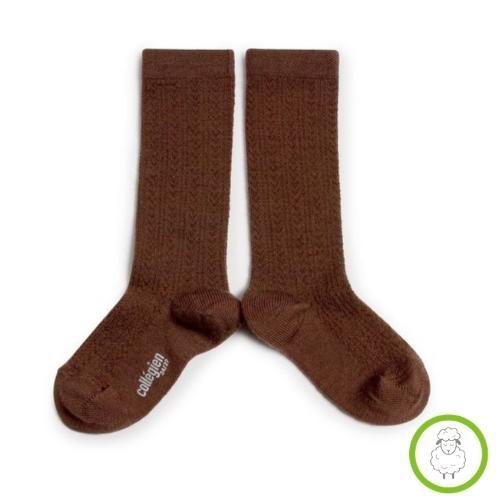 Collegien Adele - Chaussettes hautes laine Merinos maille ajouree Chocolat au lait (kniekousen)-1
