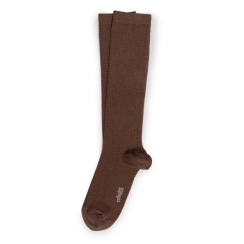 Collegien Adele - Chaussettes hautes laine Merinos maille ajouree Chocolat au lait (kniekousen)-2
