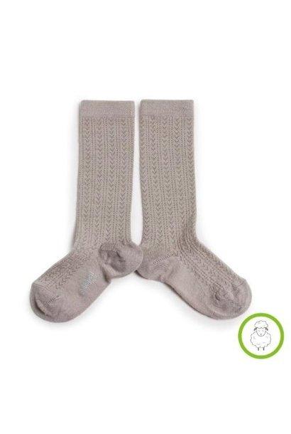 Collegien Adele - Chaussettes hautes laine Merinos maille ajouree Jour de Pluie (kniekousen)