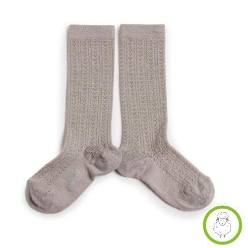 Collegien Adele - Chaussettes hautes laine Merinos maille ajouree Jour de Pluie (kniekousen)-1