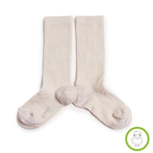 Collegien Adele - Chaussettes hautes laine Merinos maille ajouree Doux Agneaux (kniekousen)-1