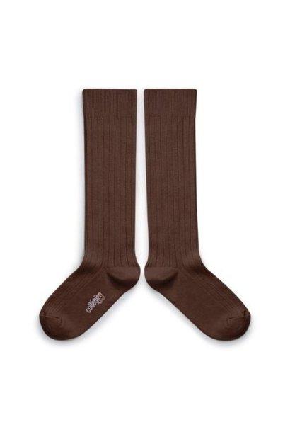 Collegien La Haute - Chaussettes hautes a cotes Chocolat au lait (kniekousen)