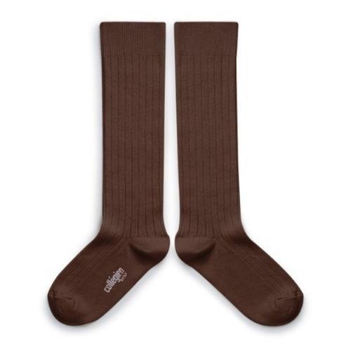 Collegien La Haute - Chaussettes hautes a cotes Chocolat au lait (kniekousen)-1