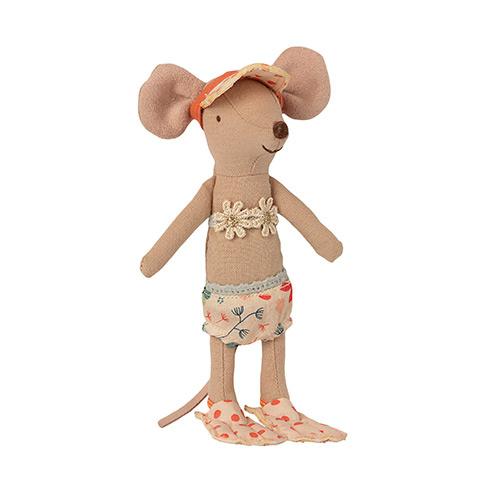 Maileg Beach mice, Big sister in Cabin de Plage (strandhuisje met muis)-2
