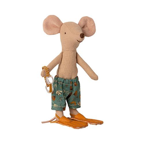 Maileg Beach mice, Big brother in Cabin de Plage (strandhuisje met muis)-2