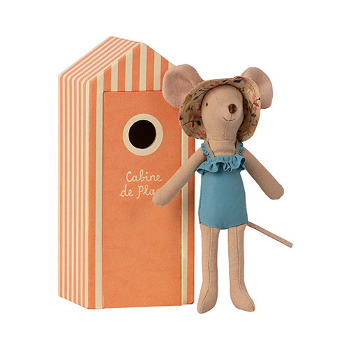 Maileg Beach mice, Mum in Cabin de Plage (strandhuisje met muis)-3