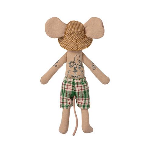 Maileg Beach mice, Dad in Cabin de Plage (strandhuisje met muis)-2