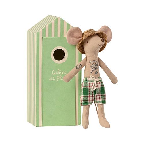 Maileg Beach mice, Dad in Cabin de Plage (strandhuisje met muis)-1