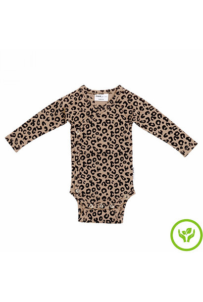 maed for mini Brown Leopard AOP Wrap Body Romper