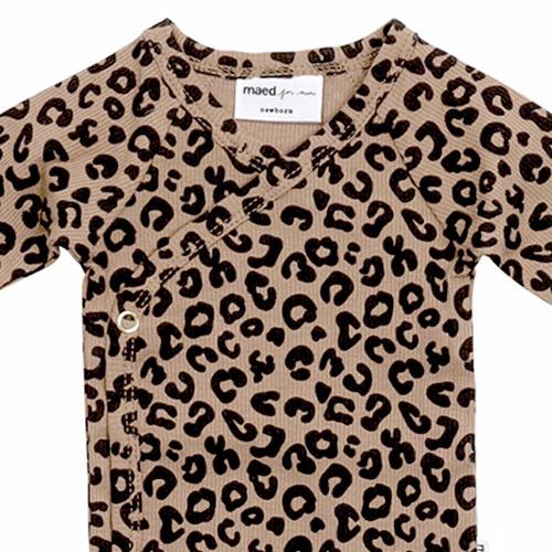 maed for mini Brown Leopard AOP Wrap Body Romper-3