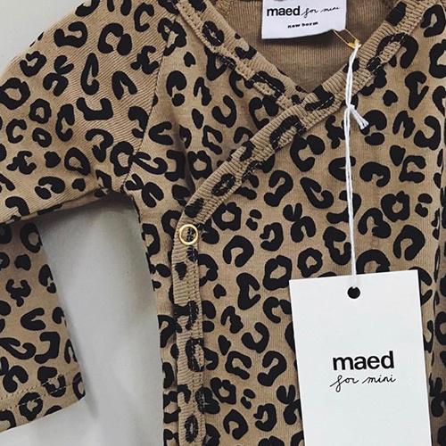 maed for mini Brown Leopard AOP Wrap Body Romper-2