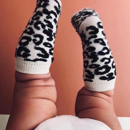 maed for mini White Leopard AOP Knee Socks-3