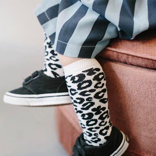 maed for mini White Leopard AOP Knee Socks-4