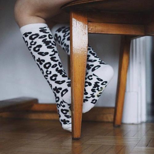 maed for mini White Leopard AOP Knee Socks-7