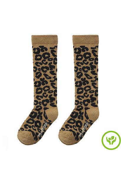 maed for mini Brown Leopard AOP Knee Socks