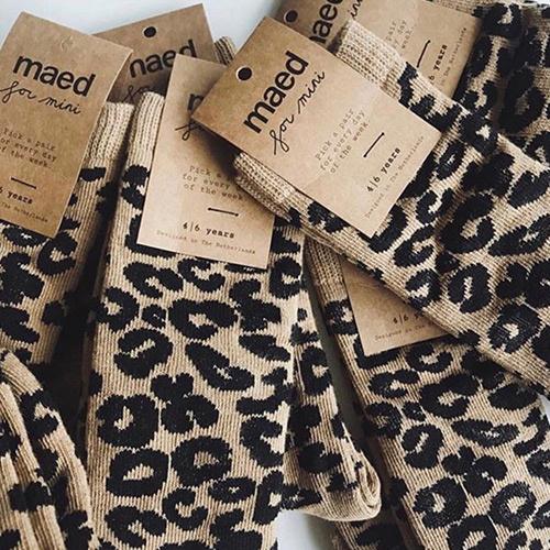 maed for mini Brown Leopard AOP Knee Socks-6