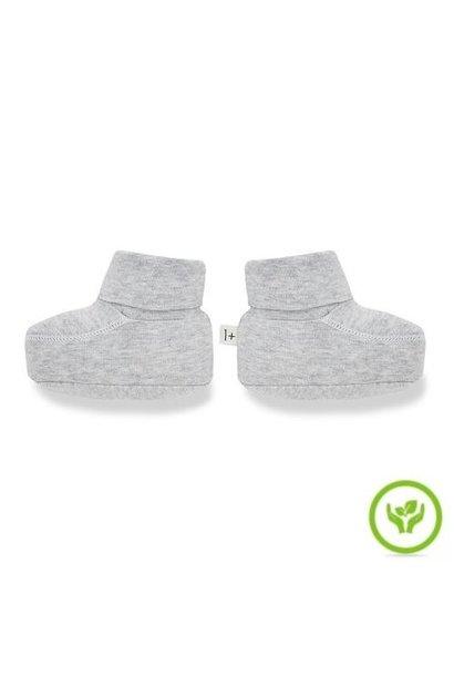 1+ in the family newborn tito socks organic plain jersey grey (babysokjes)