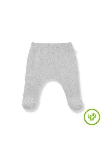 1+ in the family newborn lua leggings w/feet organic plain jersey grey (broek)