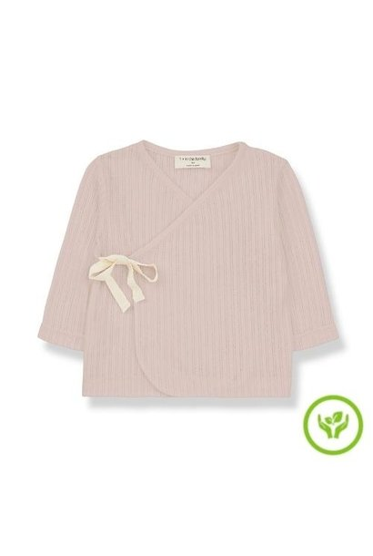 1+ in the family newborn annie shirt organic lace knitting nude (wikkel top)