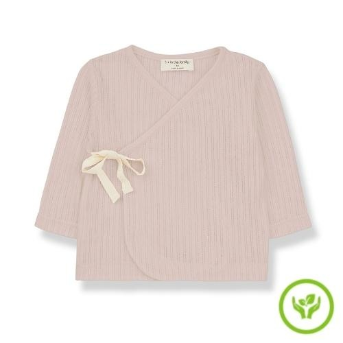 1+ in the family newborn annie shirt organic lace knitting nude (wikkel top)-1
