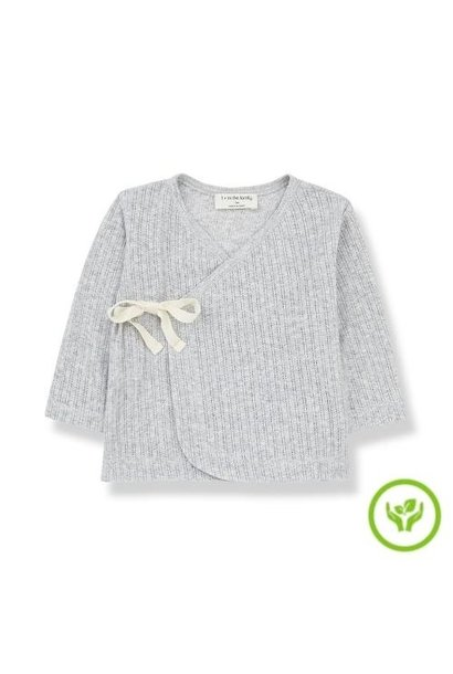 1+ in the family newborn annie shirt organic lace knitting grey (wikkel top)