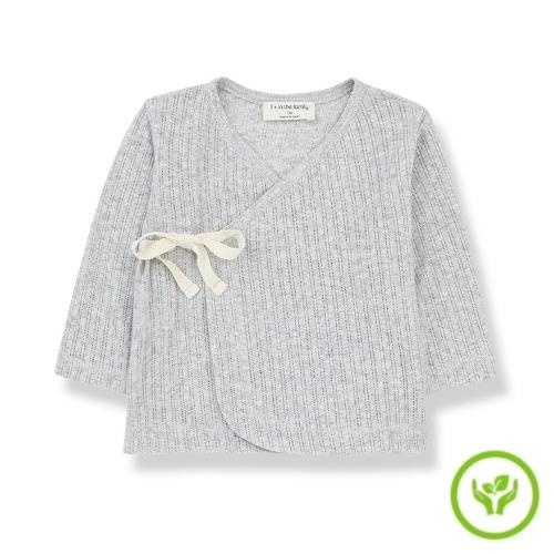 1+ in the family newborn annie shirt organic lace knitting grey (wikkel top)-1
