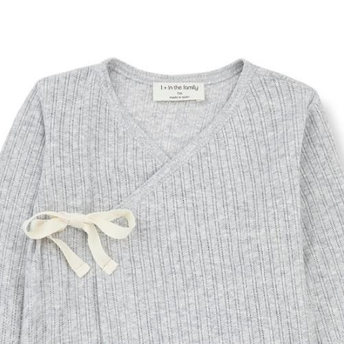 1+ in the family newborn annie shirt organic lace knitting grey (wikkel top)-3