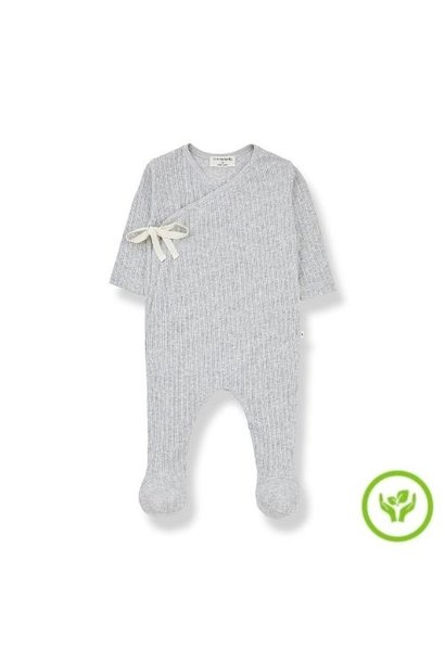 1+ in the family newborn sonia jumpsuit organic lace knitting grey (romper)