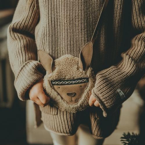Donsje Britta Exclusive Purse | Alpaca Beige Curly Faux Fur (tas)-2