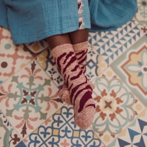 Louise Misha Socks Chachi Sienna Brush Stripes (sokken)-2