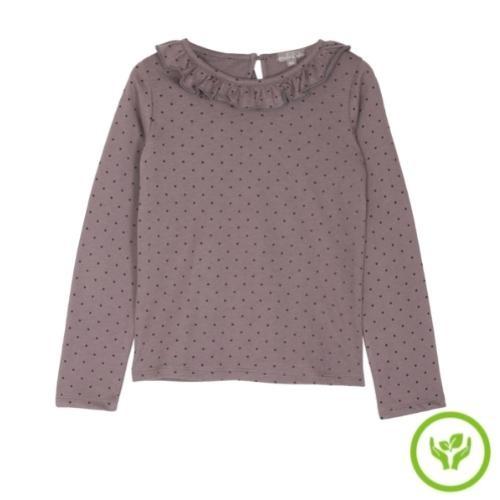 Emile et Ida Tee Shirt Lavande Pois Collerette (shirt)-1