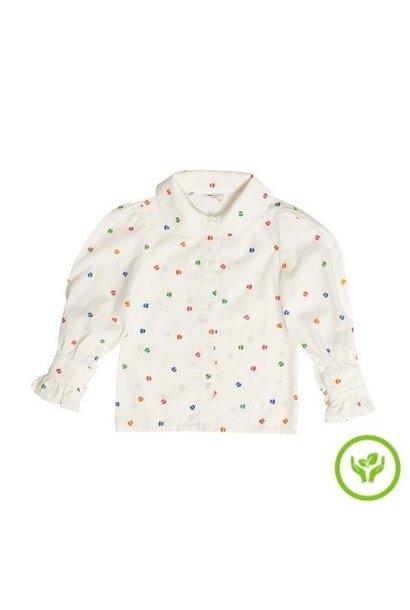 maed for mini Bomb Boa Blouse White confetti aop (top)