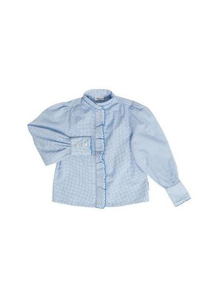 maed for mini Gingham Gibbon Blouse White/light blue check aop (top)