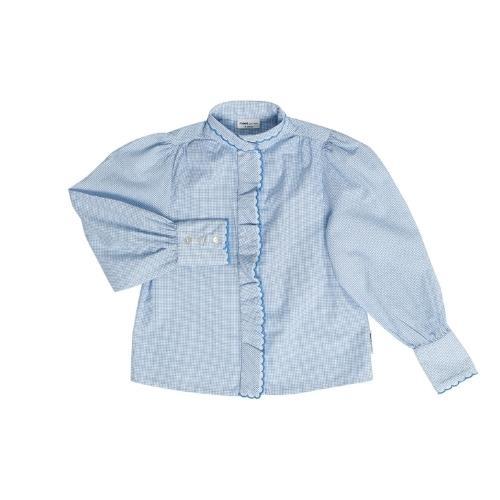 maed for mini Gingham Gibbon Blouse White/light blue check aop (top)-1
