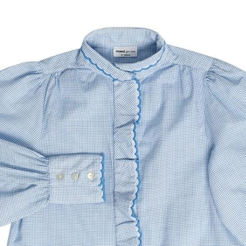 maed for mini Gingham Gibbon Blouse White/light blue check aop (top)-4
