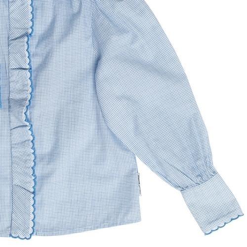 maed for mini Gingham Gibbon Blouse White/light blue check aop (top)-5