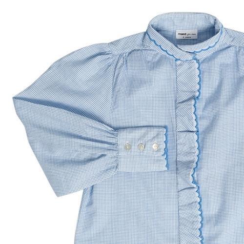 maed for mini Gingham Gibbon Blouse White/light blue check aop (top)-6