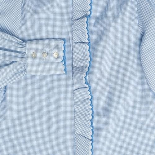 maed for mini Gingham Gibbon Blouse White/light blue check aop (top)-7