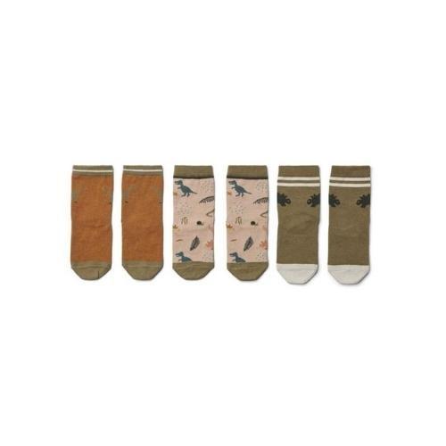 Liewood Silas cotton socks - 3 pack Dino dark sandy mix-2