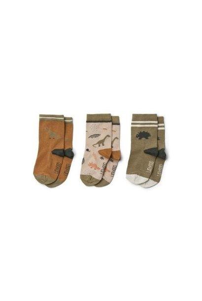 Liewood Silas cotton socks - 3 pack Dino dark sandy mix