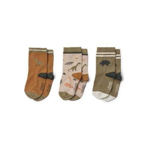 Liewood Silas cotton socks - 3 pack Dino dark sandy mix-1
