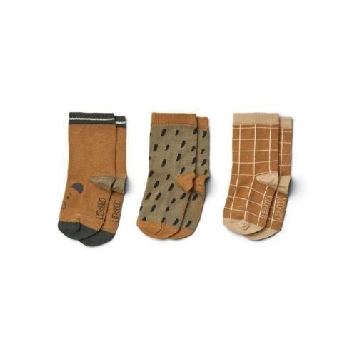 Liewood Silas cotton socks - 3 pack Golden caramel multi mix-1