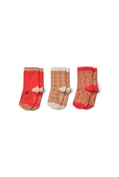 Liewood Silas cotton socks - 3 pack Apple red multi mix