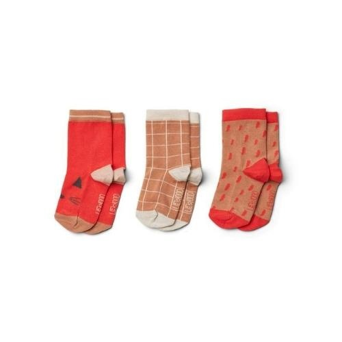 Liewood Silas cotton socks - 3 pack Apple red multi mix-1