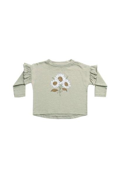 Rylee + Cru ruffle longsleeve tee bouquet agave (shirt)
